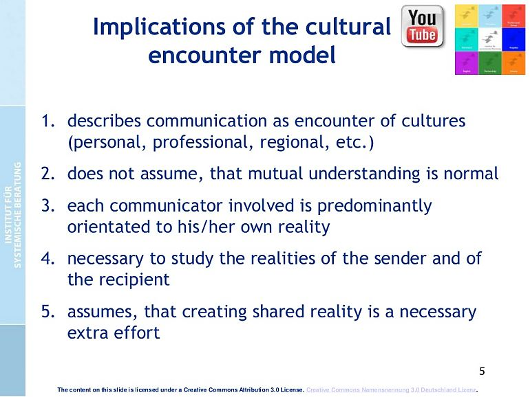 Implications of the cultural ecounter model
