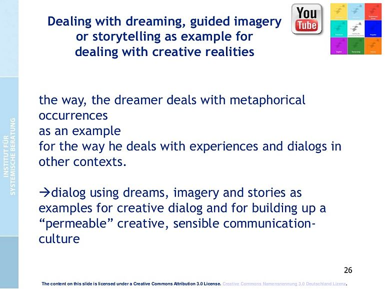 Dreaming, guided imagery or storytelling